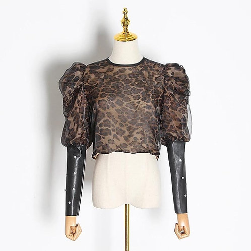 Leopard Leather Sleeve Blouse