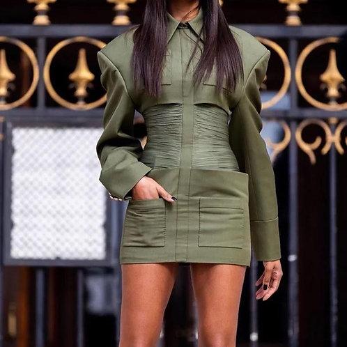Olive Turndown Collared Mini Dress