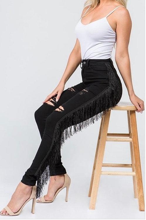 High Rise Tassel Jeans