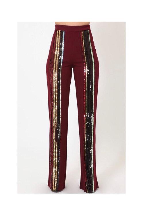 Sequins Stripe High Waist Pants