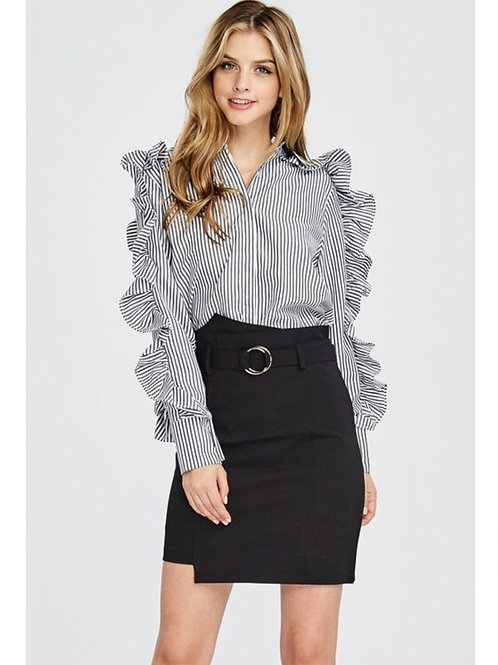 Ruffle Pinstripe Zip Sleeve Blouse