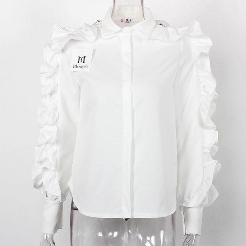 Ruffle Zip Sleeve Blouse