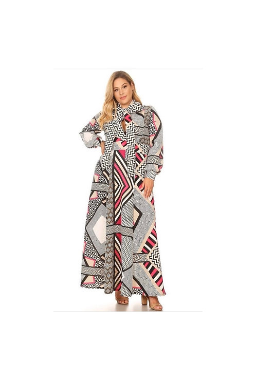 Printed Techno Maxi Dress
