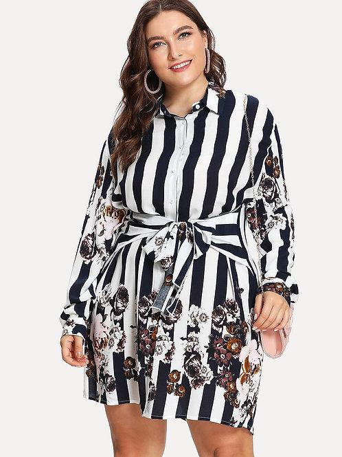 Floral Stripe Shirt Dress