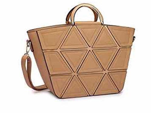 Satchel Handbag Tote Geometric Triangle Pattern With Shoulder Strap