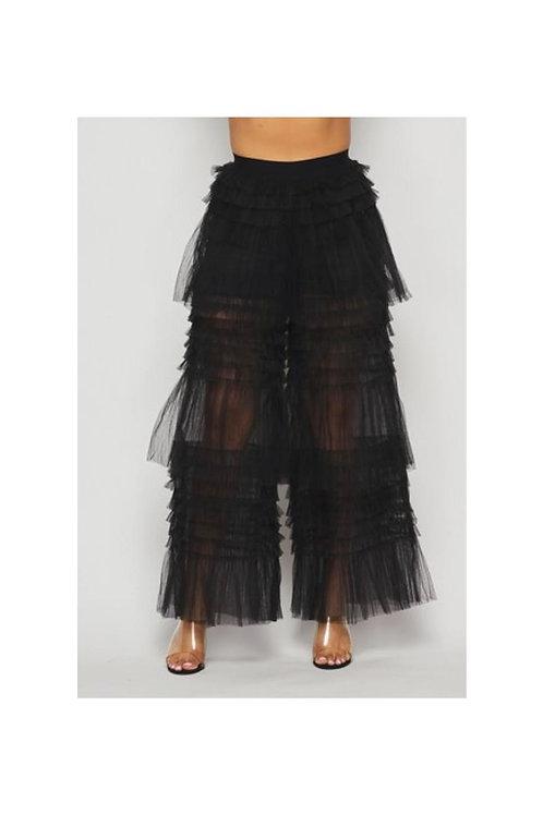 Mesh Ruffle Pants