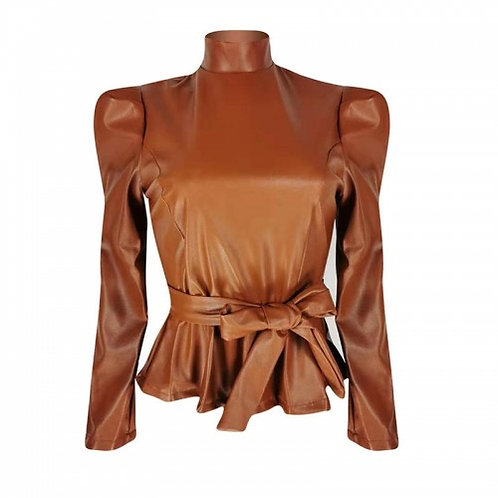 Faux Leather Mock Blouse