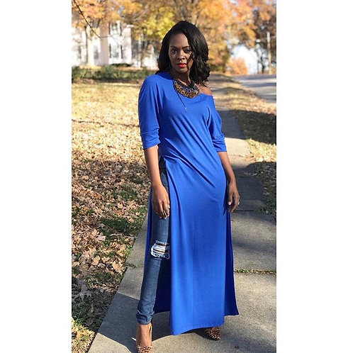 Long Sleeve Front Split Maxi Top