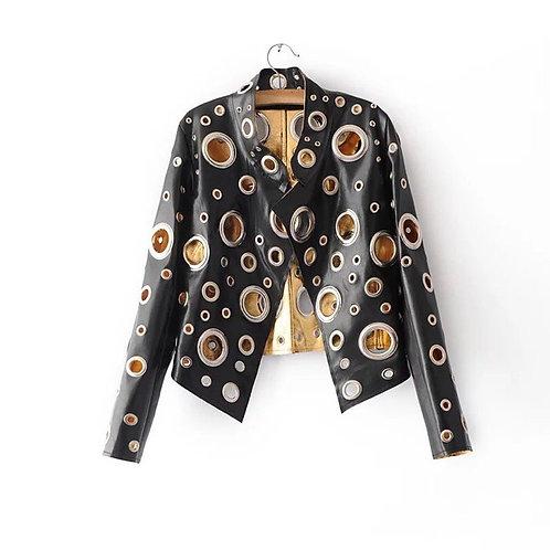 Chrome Hole Faux Leather Jacket