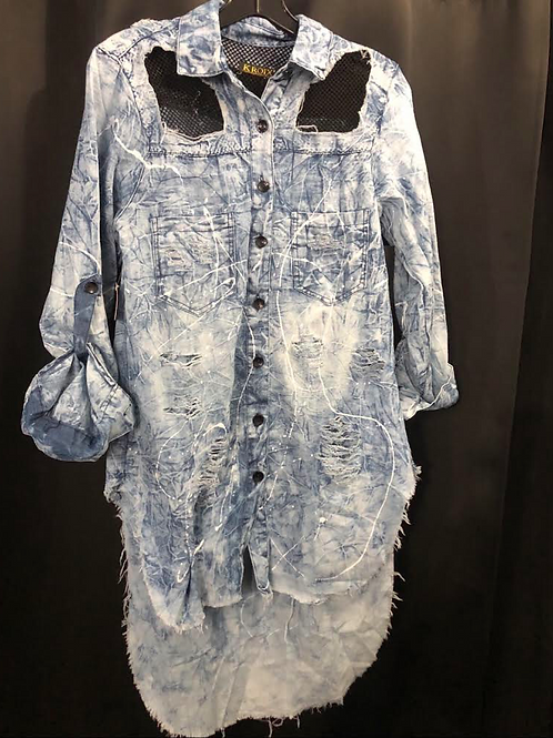 Fishnet Long Denim Shirt