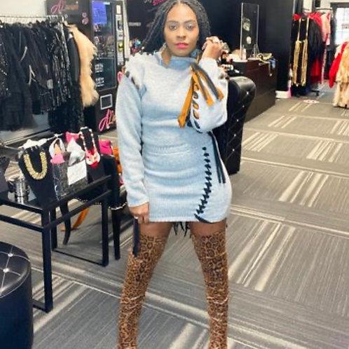 Sweater Braided Skirt Set