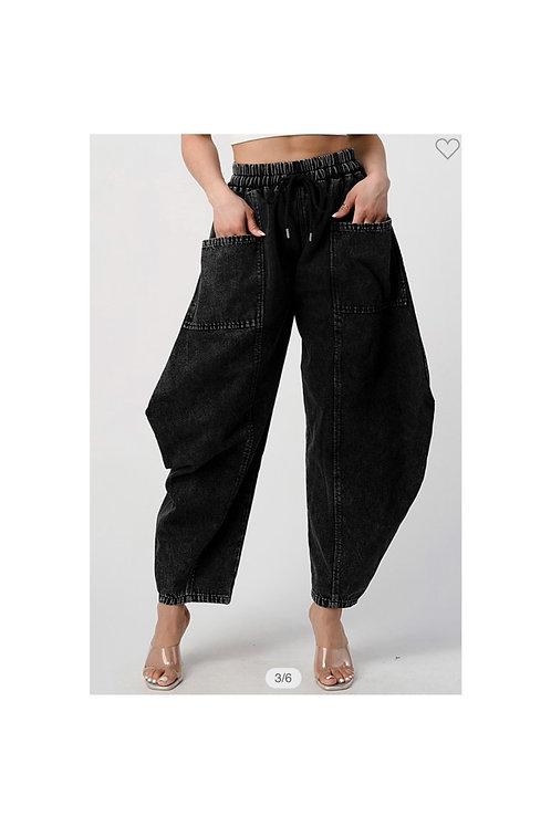 Denim Cargo Harem Pants