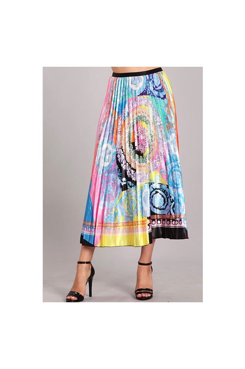 Pleated Printed Contrast Skirt