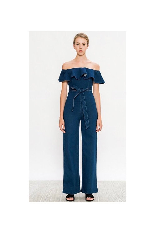 Off Shoulder Denim Ruffle Jumpsuit
