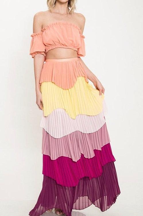 Colorful Ruffle Chiffon Set