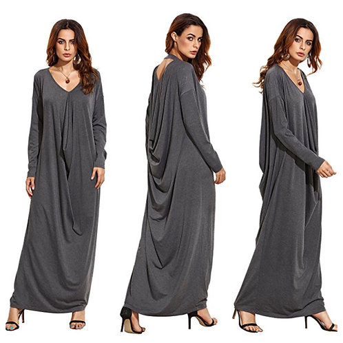 Boho Long Sleeve Draped Casual Loose Long Maxi Dress