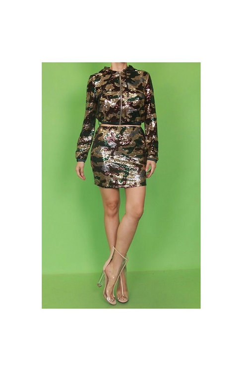 Sequins Camouflage Skirt Set
