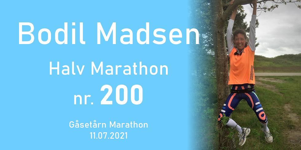 """Gåsetårn Marathon  """"Bodil Madsen 1/2 marathon nr. 200"""""""