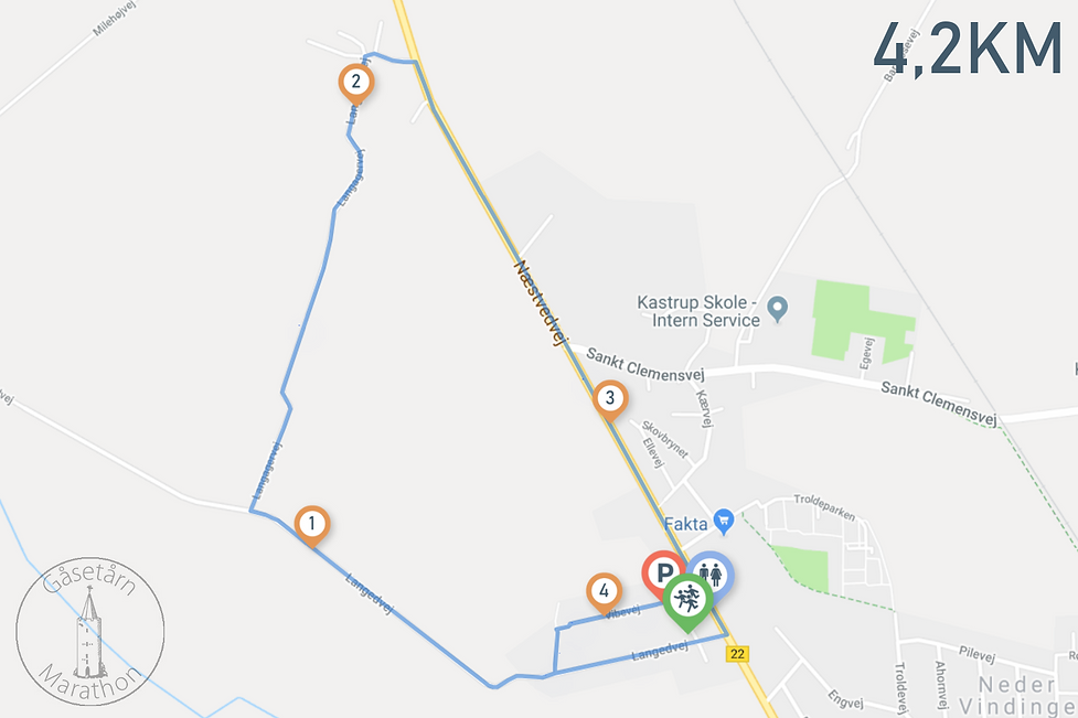 Gåsetårn Marathon Lærkevej rute