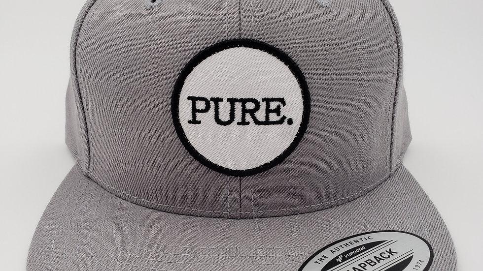 Grey PURE. Patch Flat Brim Snapback
