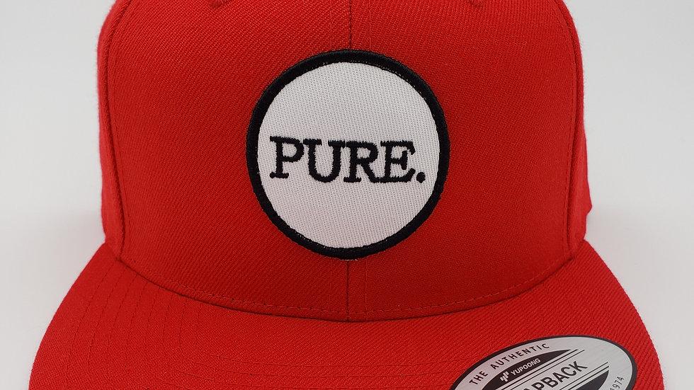 Red PURE. Patch Flat Brim Snapback