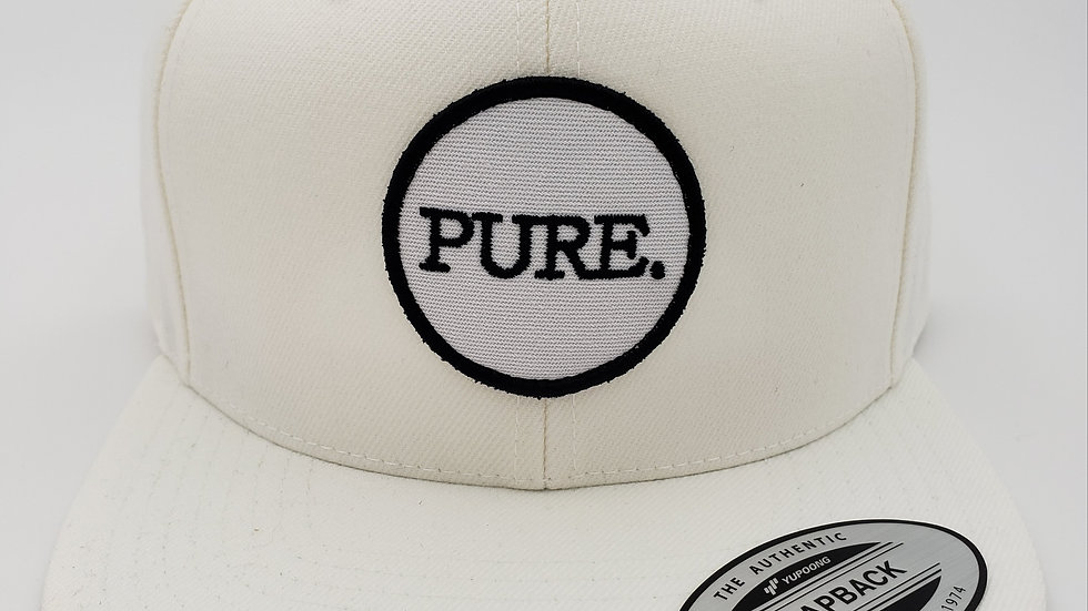 White PURE. Patch Flat Brim Snapback