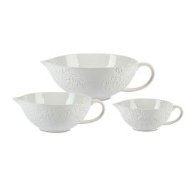 S/3 Etched White Floral Bowl