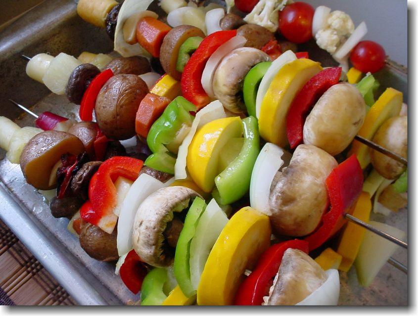 Spiedini vegetariani allo zafferano