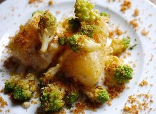 Stoccafisso con broccolo romano e briciole di pane