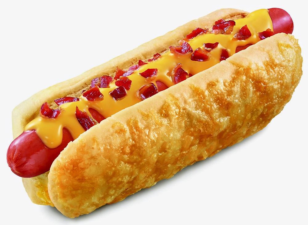Bacon cheese hot dog