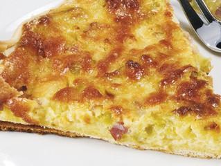 Torta salata con pancetta e porri