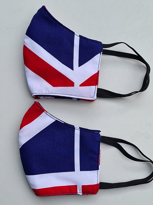 Red, blue and white face masks