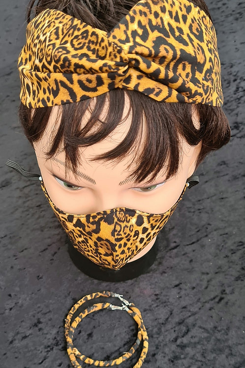 Leopard Print Fabric Wrapped Earrings