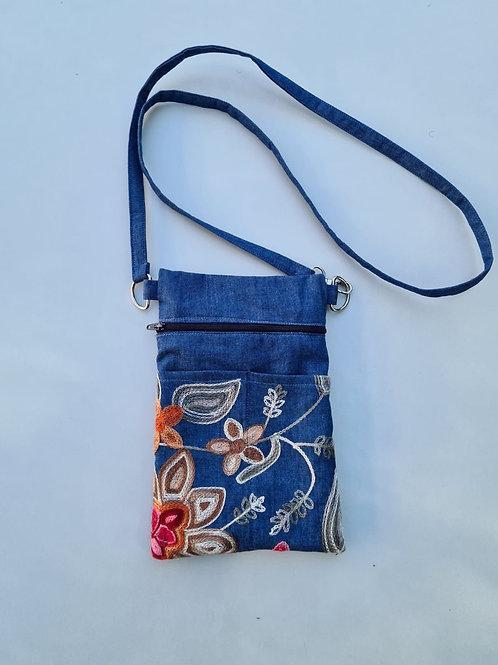 Autumn Floral on Blue - Embroidered Denim Crossbody Bag