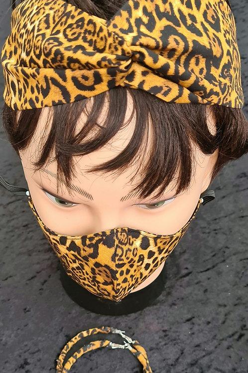 Leopard Print Headwrap & Matching Mask