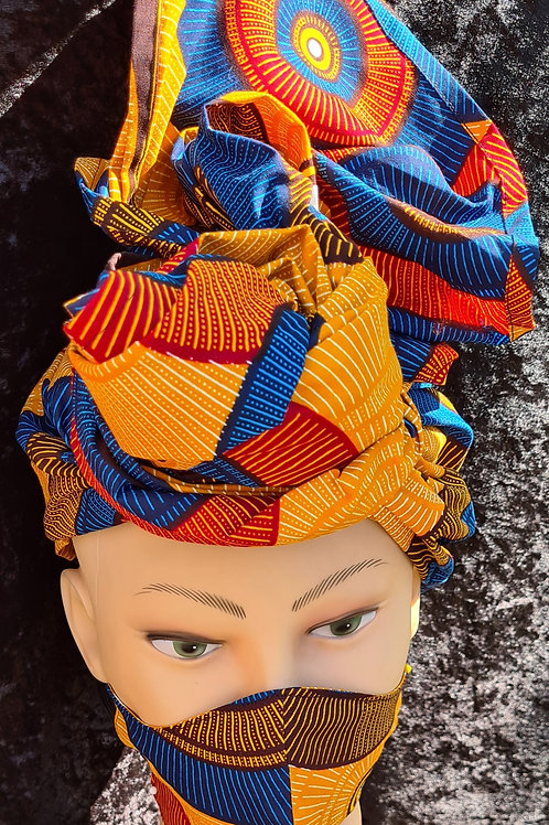 African Print Headwrap With Matching Mask