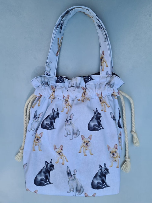 Animal print cotton drawstring bag