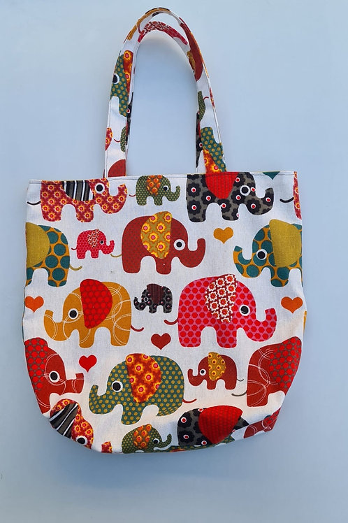 Elephant print cotton canvas tote