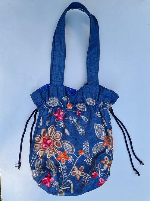 Autumn Floral on Blue - Embroidered denim drawstring bag
