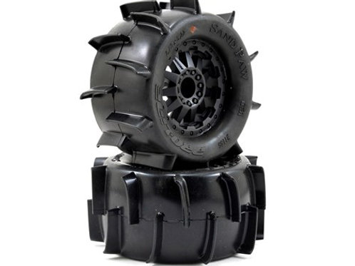 "Pro-Line Sand Paw 2.8"" Tires w/F-11 Electric Rear Wheels (2) (Black) (XTM)"
