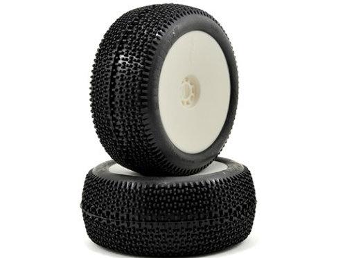 AKA EVO Cityblock 1/8 Truggy Pre-Mounted Tires (2) (White) (Super Soft)