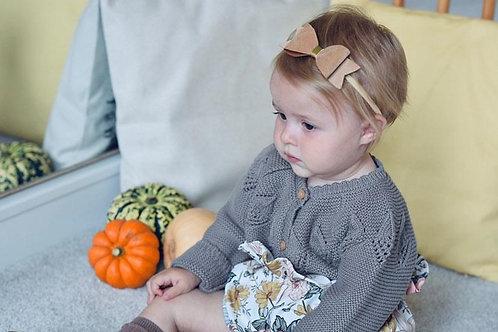 Faux Suede Baby Headband in Acorn