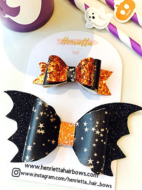 Stary Bat and Orange Mini Bow Set