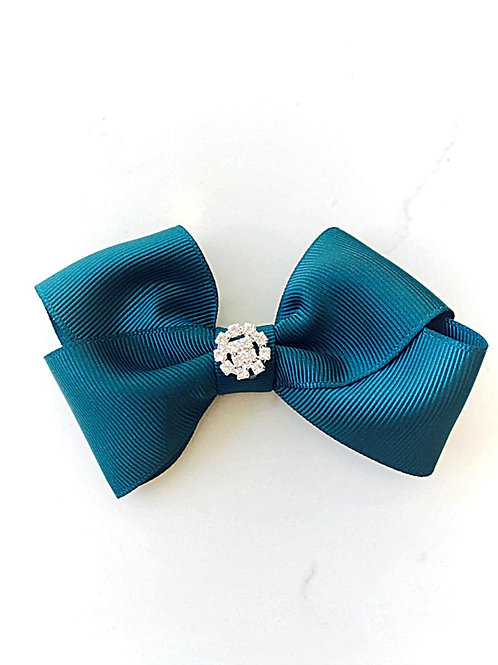 Green Bow With Diamante