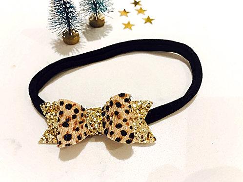 Gold Glitter & Pony Hair Baby Headband