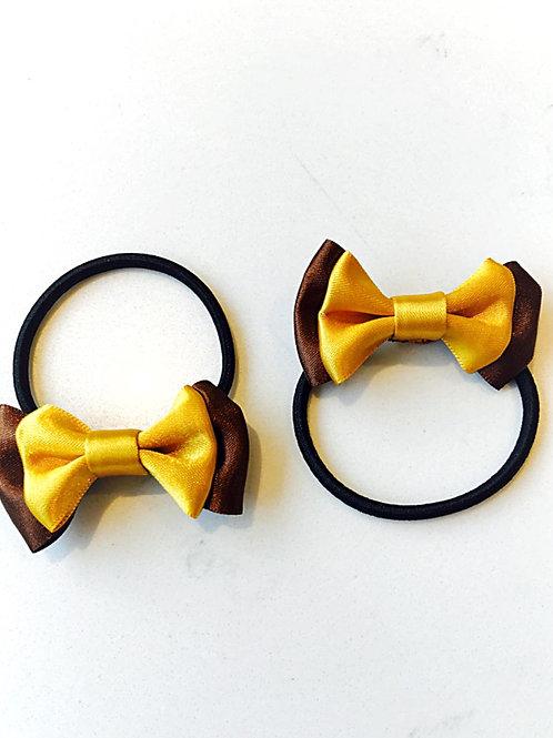 Matching Gold & Brown Bobble Bows