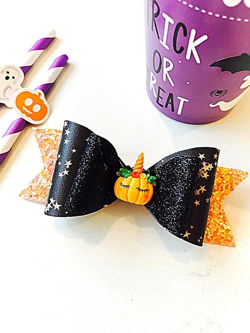 Black and Orange 4 Inch Halloween Bow