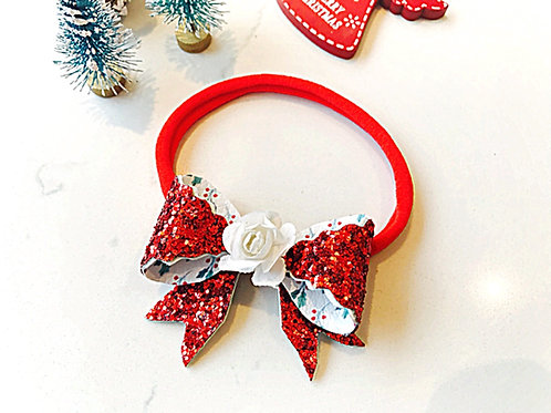 Double Sided Red Glitter Bow Headband