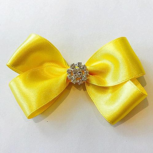 3 inch Yellow Diamante Hair Bow