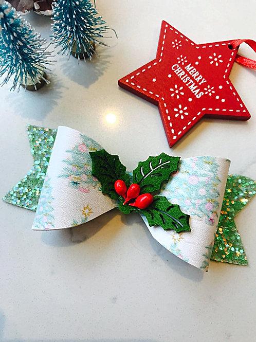 Christmas Holly Hair Bow